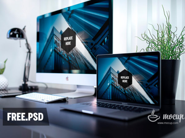 MacBook and iMac in Office Mockup  mockup, free mockup, psd mockup, mockup psd, free psd, psd, download mockup, mockup download, photoshop mockup, mock-up, free mock-up, mock-up psd, mockup template, free mockup psd, presentation mockup, branding mockup, free psd mockup