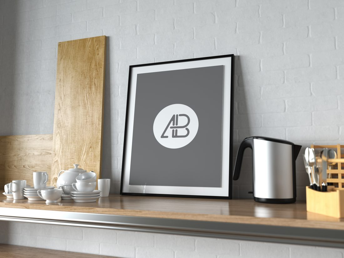Realistic Poster Frame In Kitchen Mockup Mockup Love