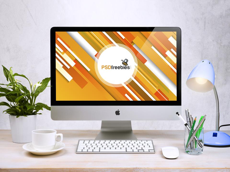 Apple iMac Workspace PSD Mockup  mockup, free mockup, psd mockup, mockup psd, free psd, psd, download mockup, mockup download, photoshop mockup, mock-up, free mock-up, mock-up psd, mockup template, free mockup psd, presentation mockup, branding mockup, free psd mockup