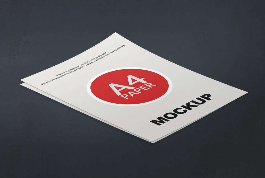 Clean A4 Paper Mockup PSD