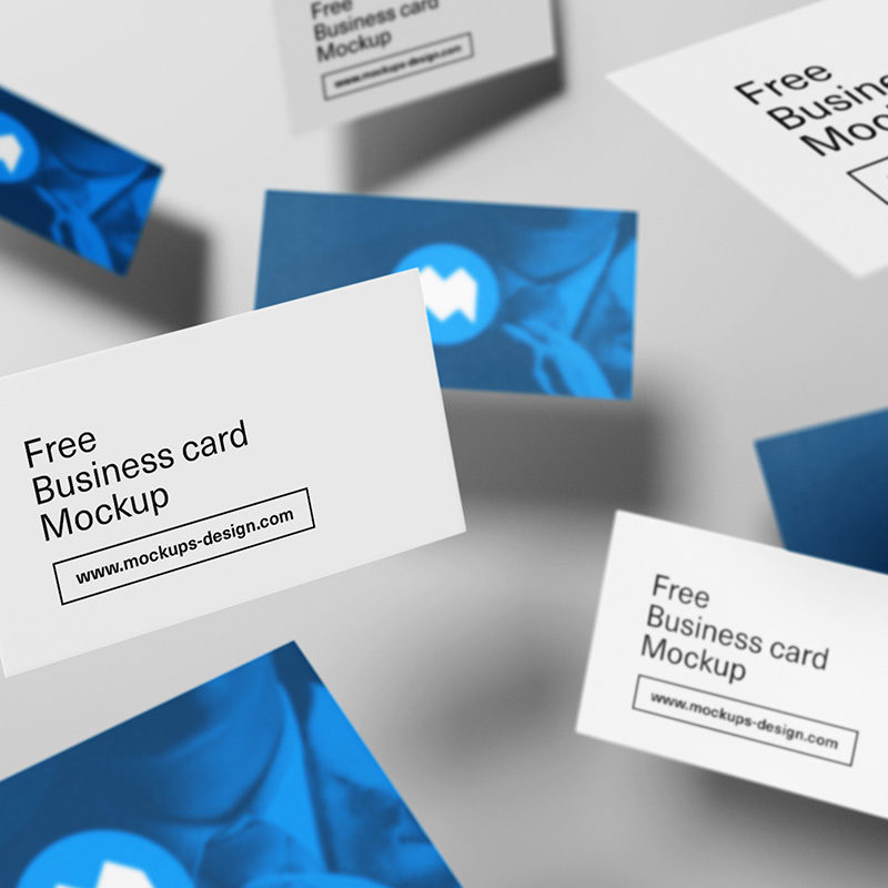 Flying Business Cards Mockup Freebie