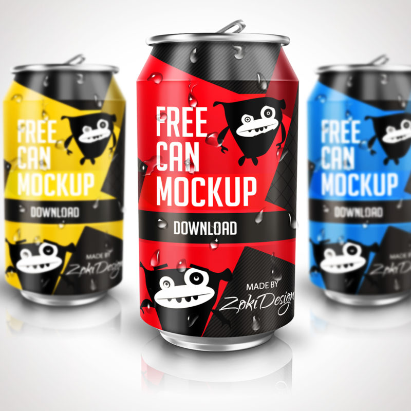 Soda Can Mockup PSD