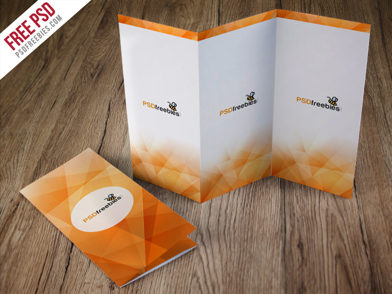 TriFold Brochure On Table Mockup Mockup Love - Photoshop tri fold brochure template free