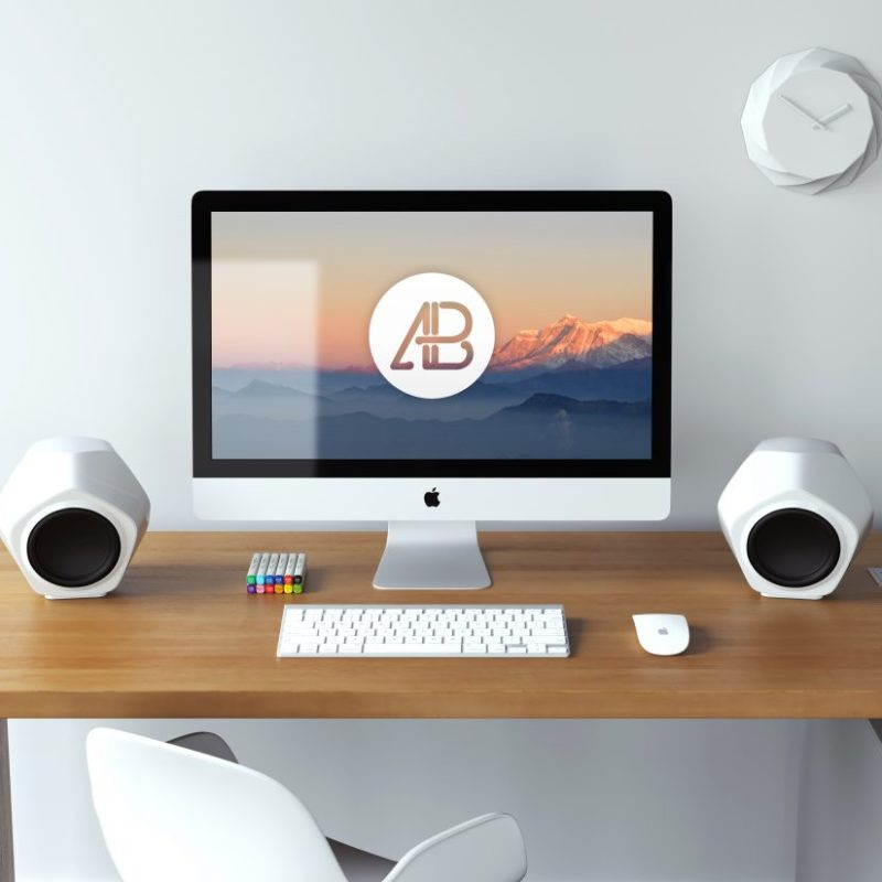 iMac on Office Desk Mockup