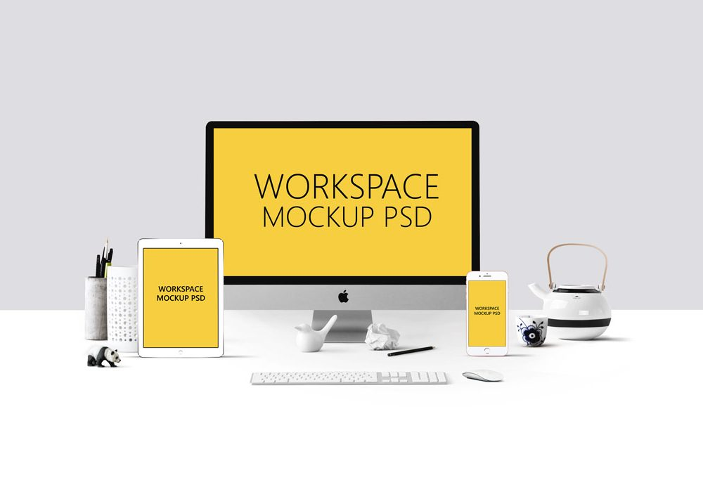 Apple Devices Workspace Mockup PSD