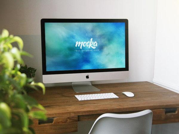 Apple iMac on Desk Mockup  mockup, free mockup, psd mockup, mockup psd, free psd, psd, download mockup, mockup download, photoshop mockup, mock-up, free mock-up, mock-up psd, mockup template, free mockup psd, presentation mockup, branding mockup, free psd mockup