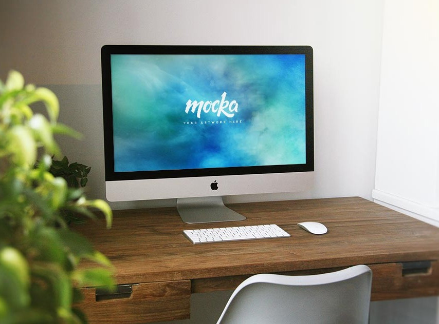 Apple iMac on Desk Mockup