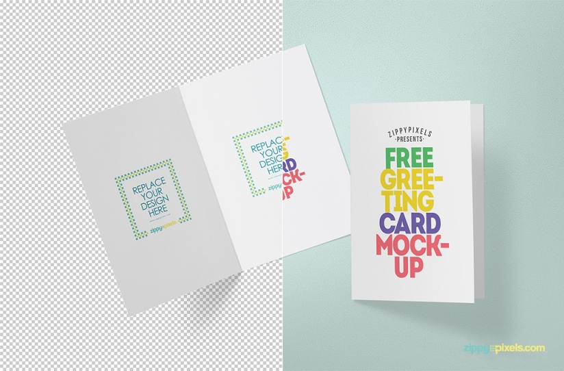 Free Photorealistic Greeting Card Mockup