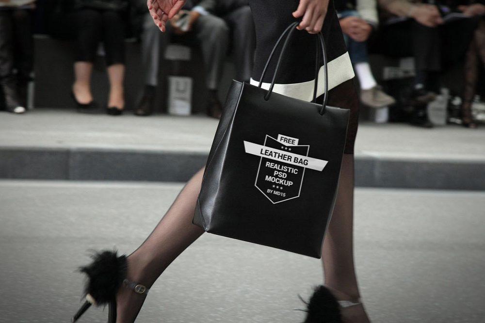 Girl with Black Shopping Bag Mockup