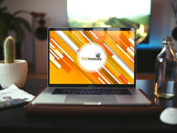 MacBook Pro in Home Office Mockup  mockup, free mockup, psd mockup, mockup psd, free psd, psd, download mockup, mockup download, photoshop mockup, mock-up, free mock-up, mock-up psd, mockup template, free mockup psd, presentation mockup, branding mockup, free psd mockup