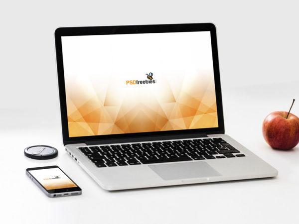 MacBook Pro with Smartphone Mockup  mockup, free mockup, psd mockup, mockup psd, free psd, psd, download mockup, mockup download, photoshop mockup, mock-up, free mock-up, mock-up psd, mockup template, free mockup psd, presentation mockup, branding mockup, free psd mockup