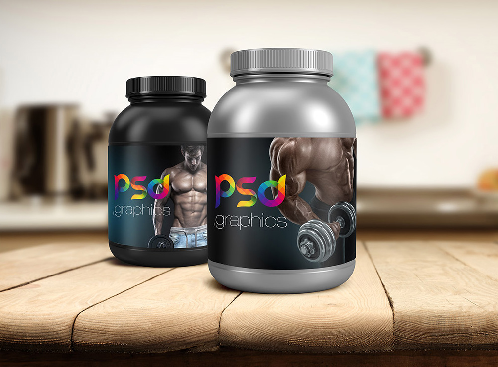 Plastic Protein Jar Packaging Mockup
