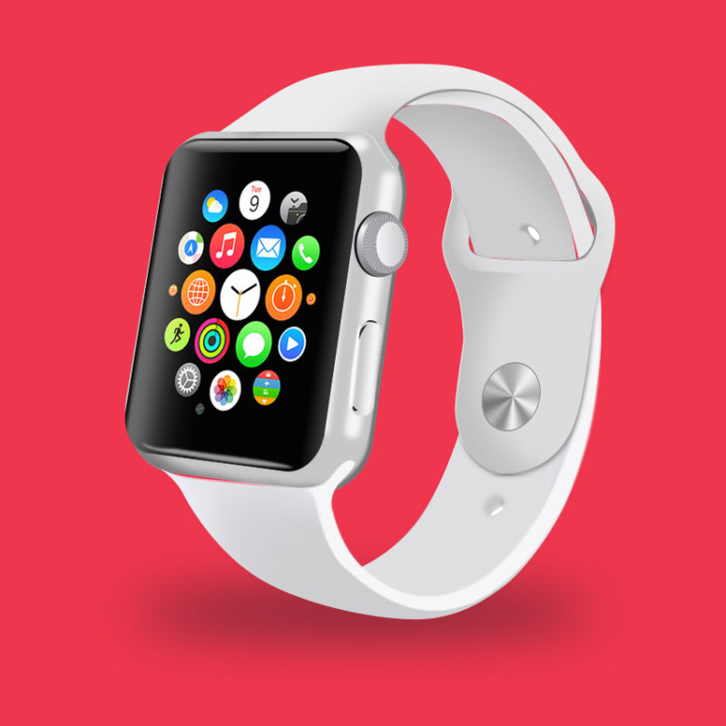 Realistic White Apple Watch Mockup