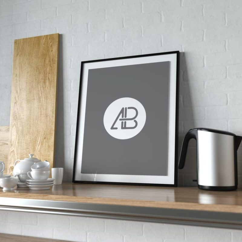 Realistic Poster Frame in Kitchen Mockup