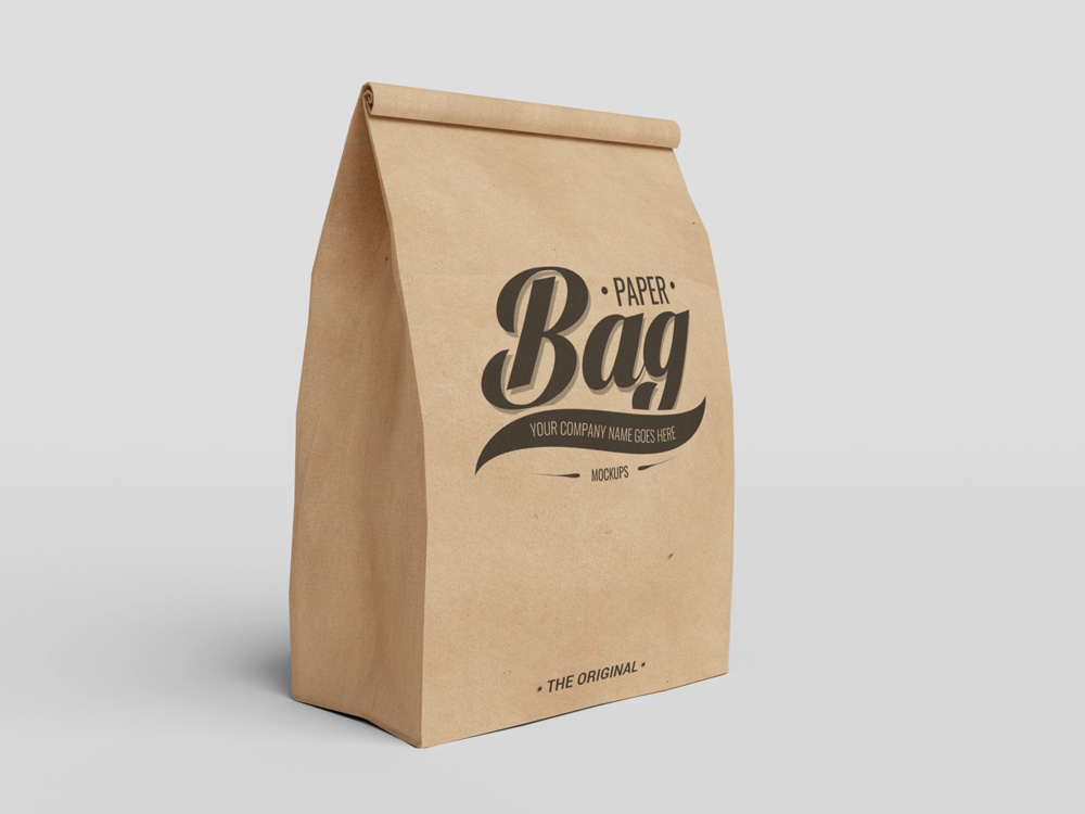 Set of Paper Bag Packaging PSD Mockups