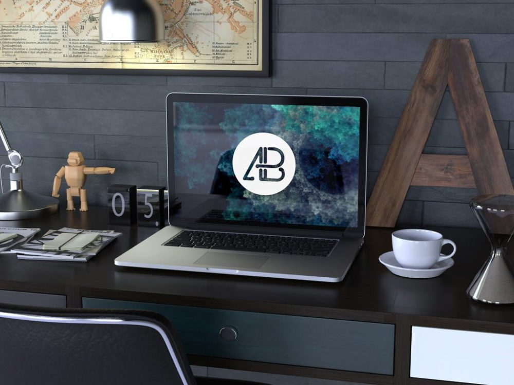 Workspace with MacBook Mockup