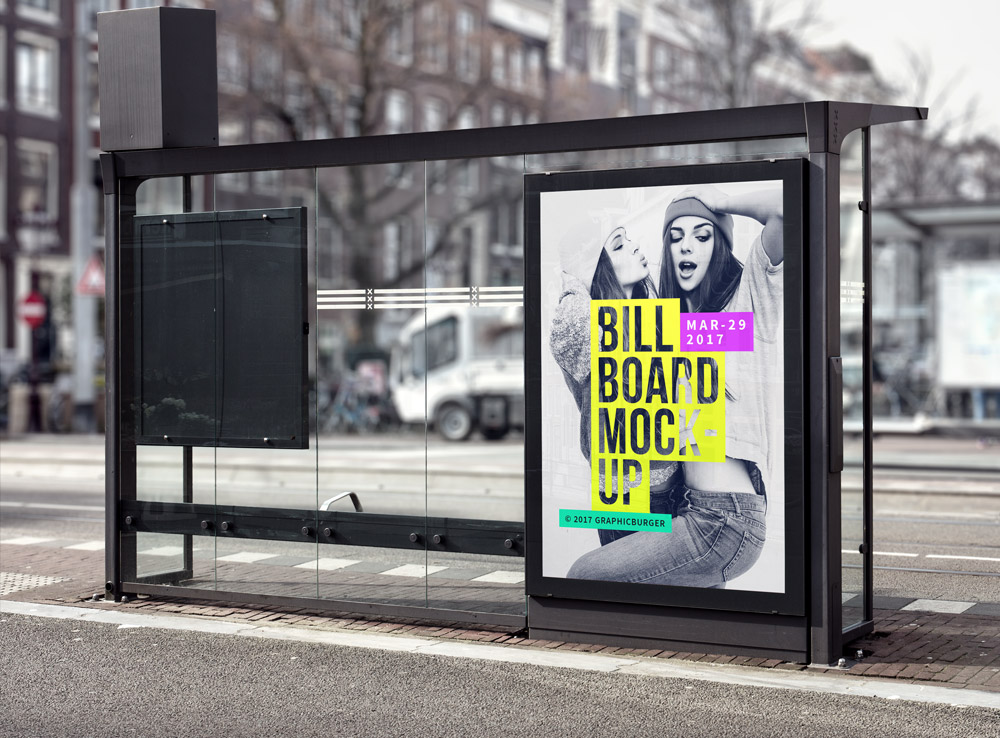 Bus Stop Advertisement Board Mockup