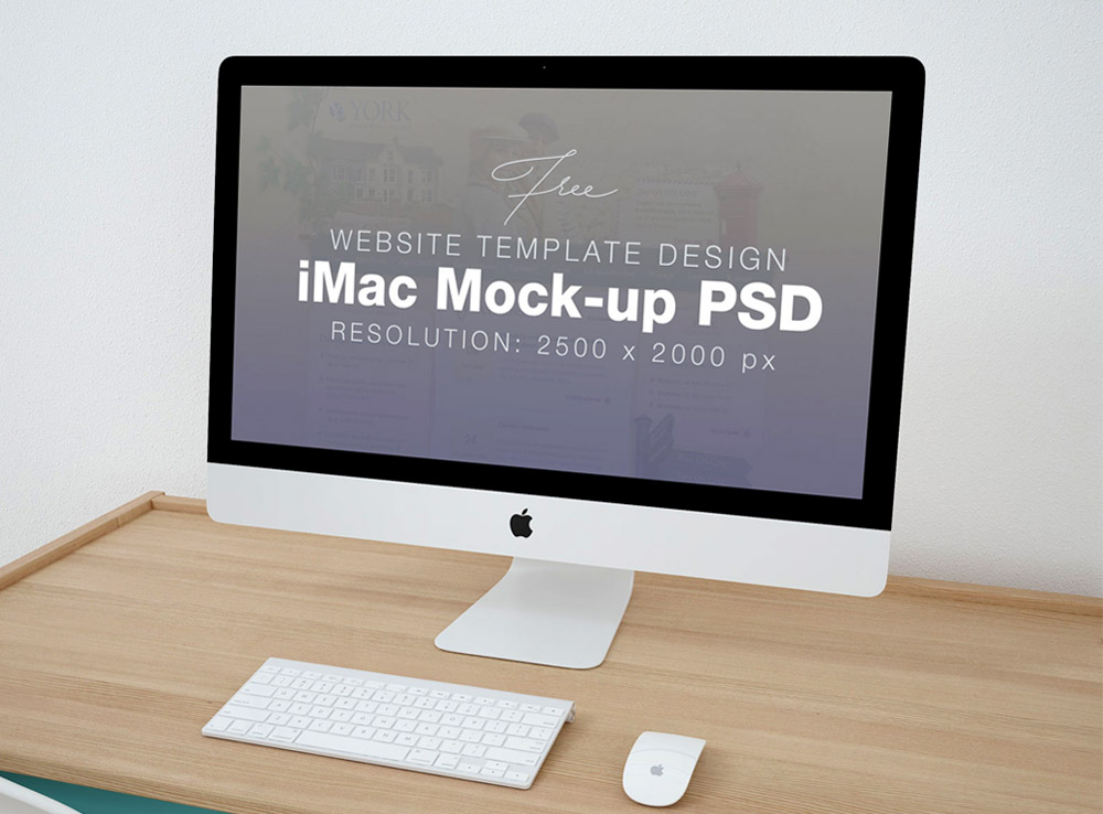 Clean iMac on Table Mockup