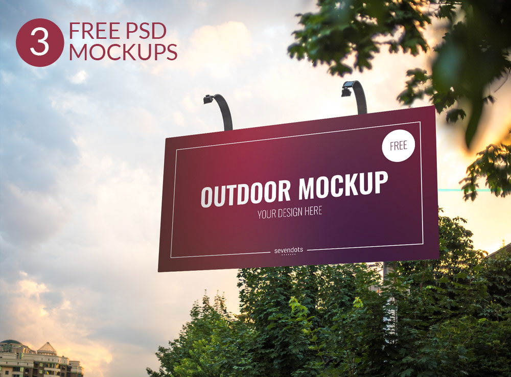 Outdoor Advertising Signboard and Macbook Mockups