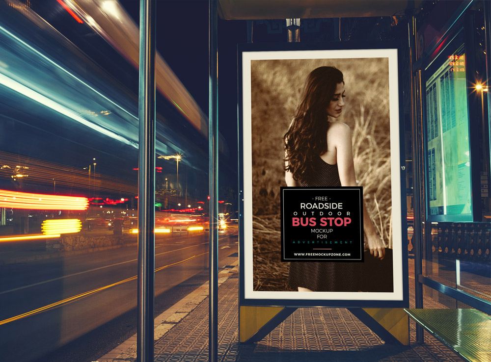 Roadside Bus Stop Billboard Mockup
