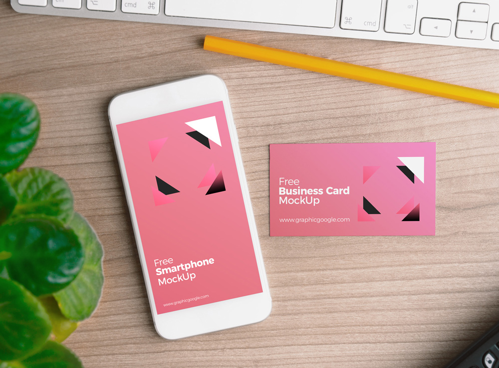 Smartphone with Business Card Mockup