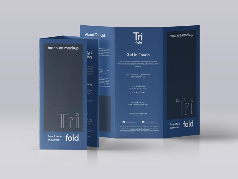 A4 Size Tri-fold Brochure Mockup