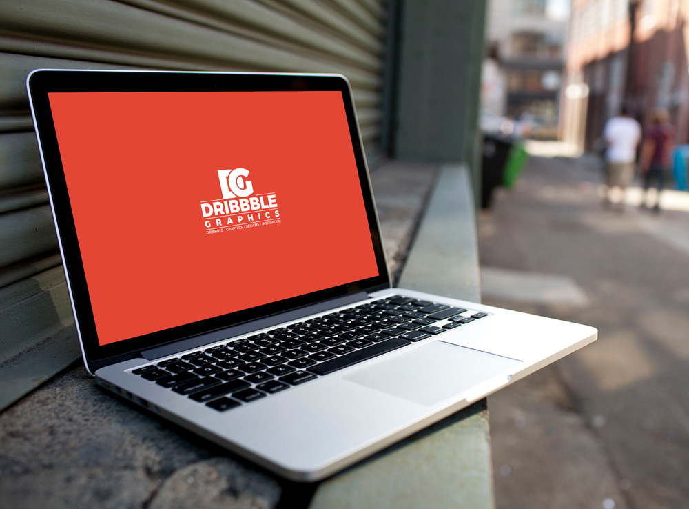 Macbook Pro on City Street Mockup