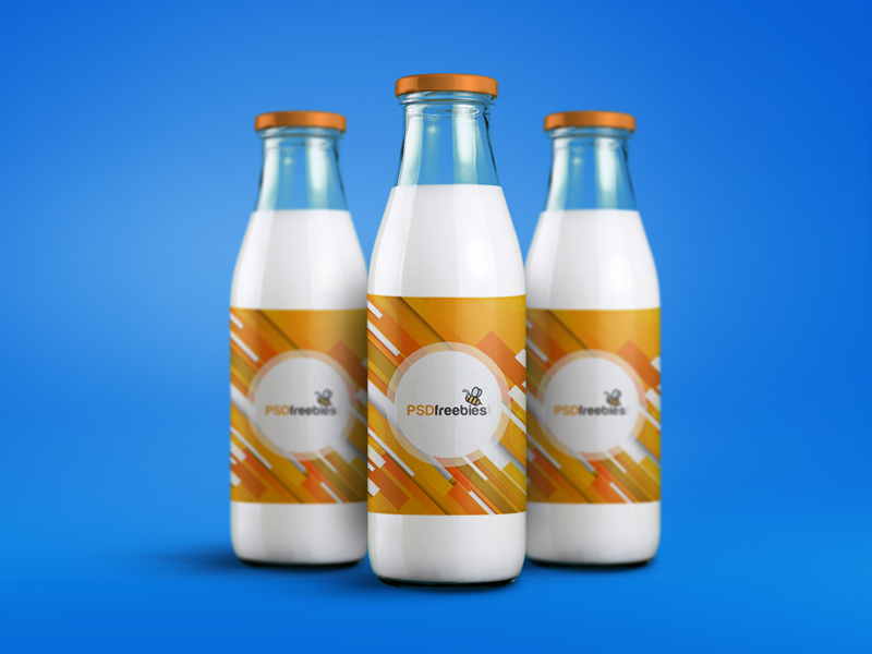 Milk Bottle Packaging Mockup