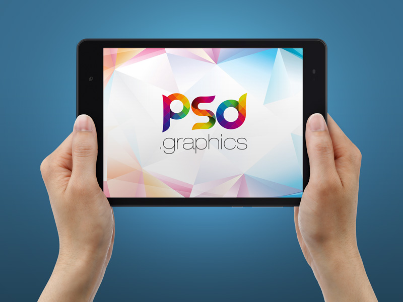 Tablet in Hand Mockup PSD