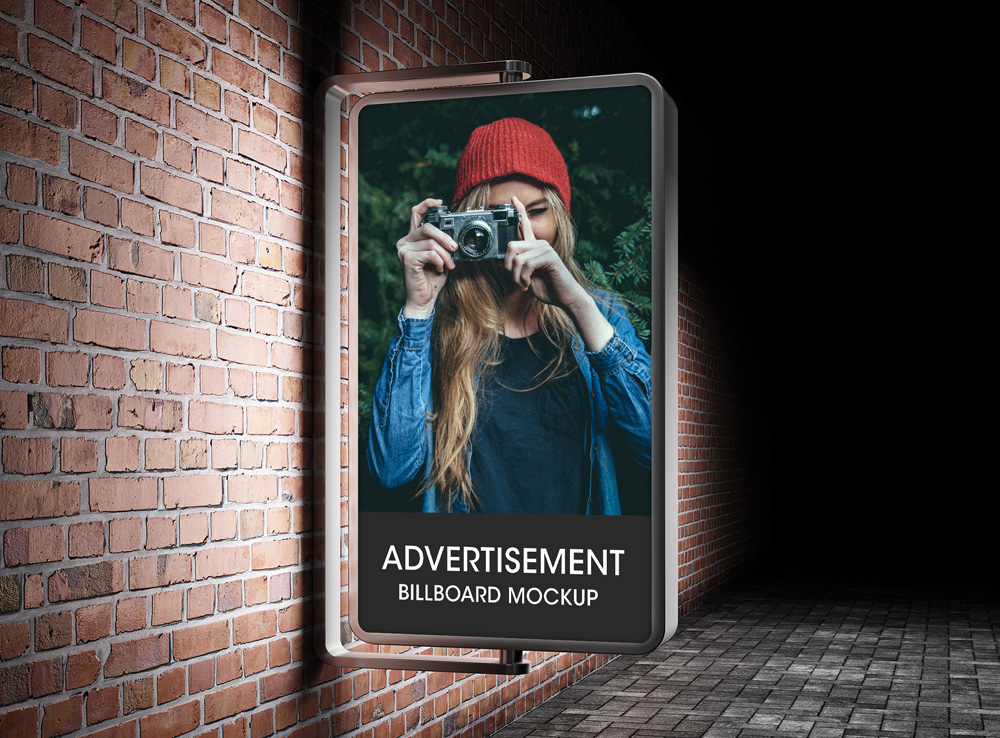 Vertical Glowing Advertisement Billboard Mockup