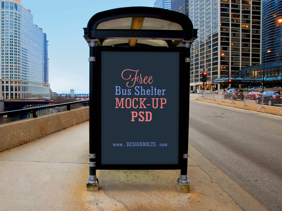 Bus Shelter Advertising Billboard Mockup
