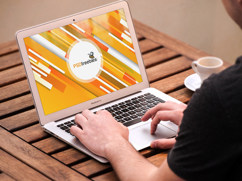 Man Working on Macbook Mockup