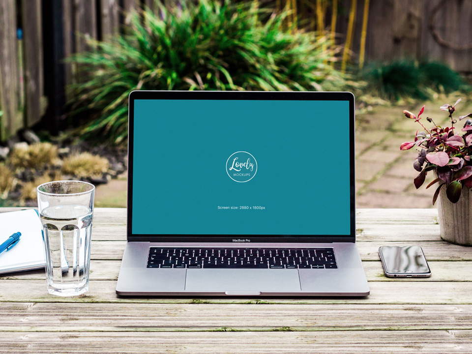 Outdoor Macbook Pro Workspace Mockup