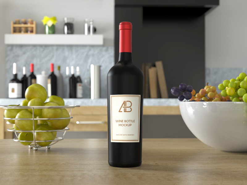 Wine Bottle on Kitchen Table Mockup