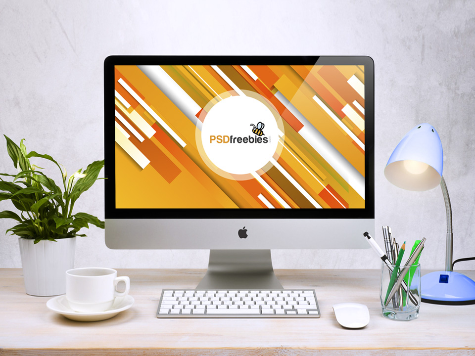 Apple iMac Workspace PSD Mockup