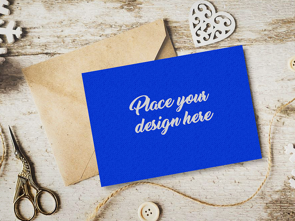 Invitation Card on Table Mockup