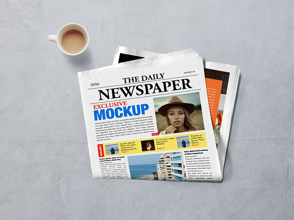 Realistic Newspaper Advertising Mockup