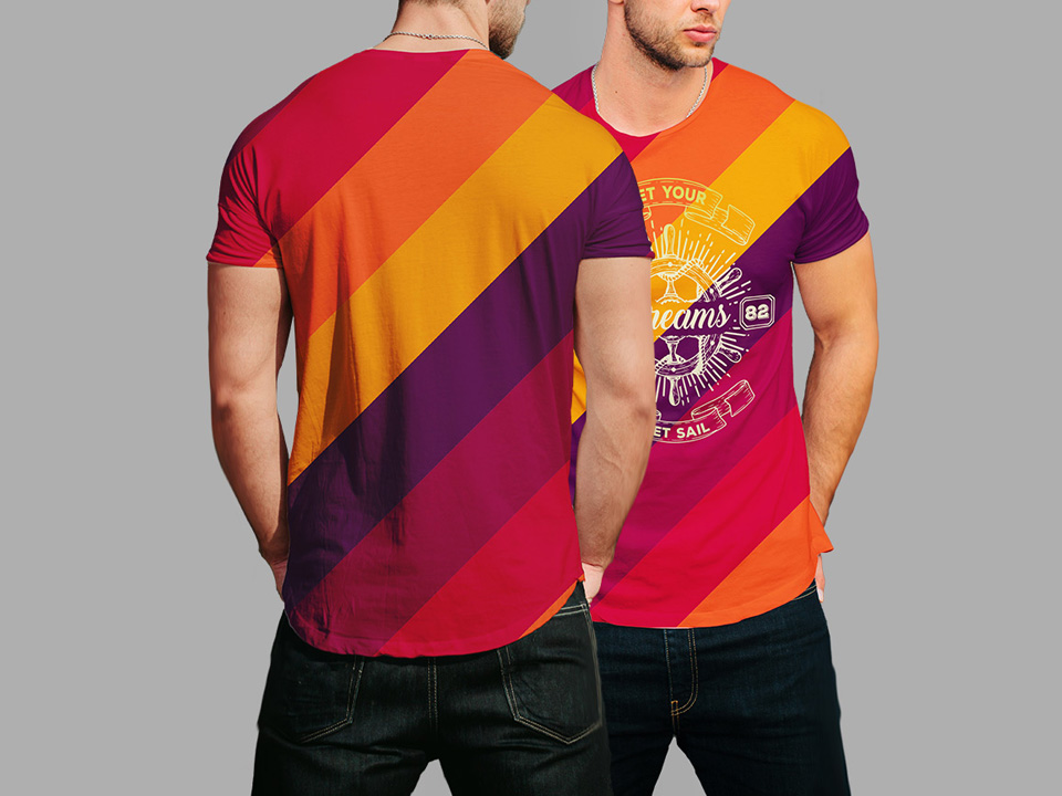 Round Neck Men T-Shirt Mockup