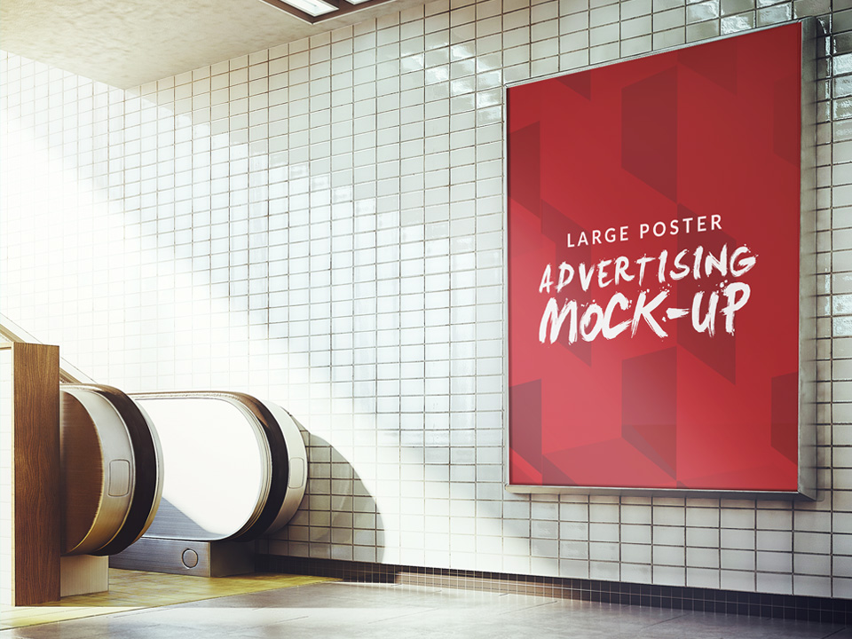 Subway Advertising Sign Board Poster Mockup