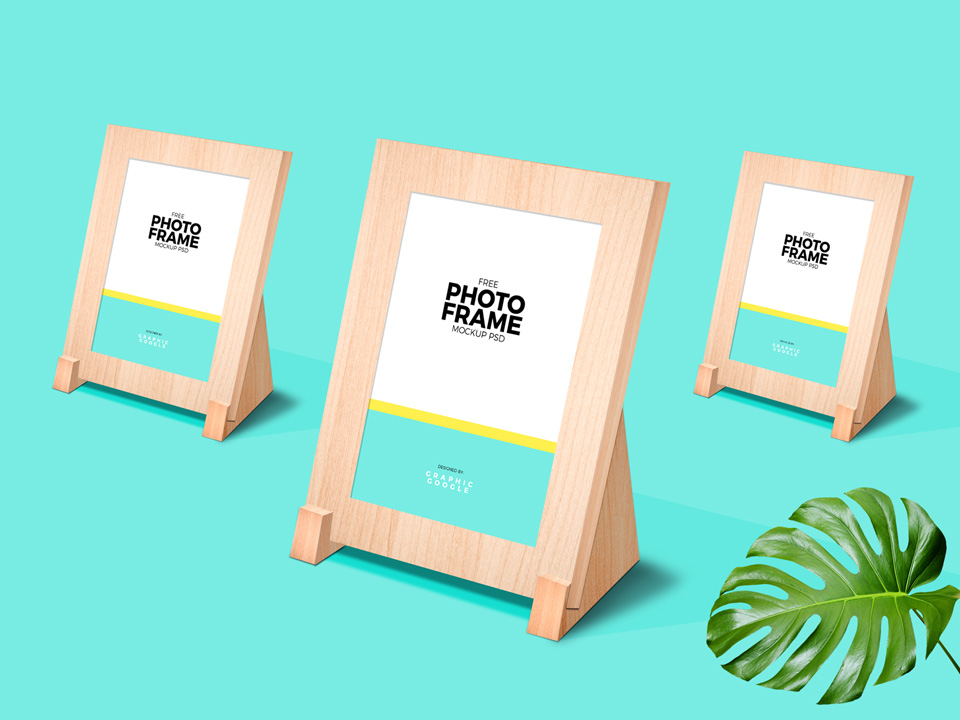 Wooden Photo Frame Stand Mockup
