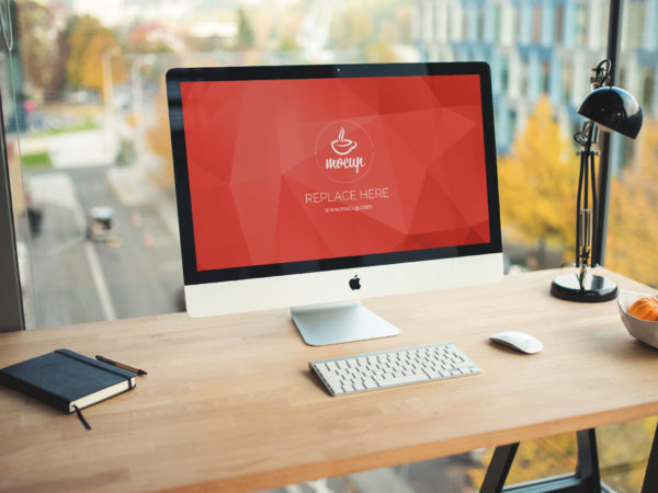 iMac on Office Table Mockup  mockup, free mockup, psd mockup, mockup psd, free psd, psd, download mockup, mockup download, photoshop mockup, mock-up, free mock-up, mock-up psd, mockup template, free mockup psd, presentation mockup, branding mockup, free psd mockup