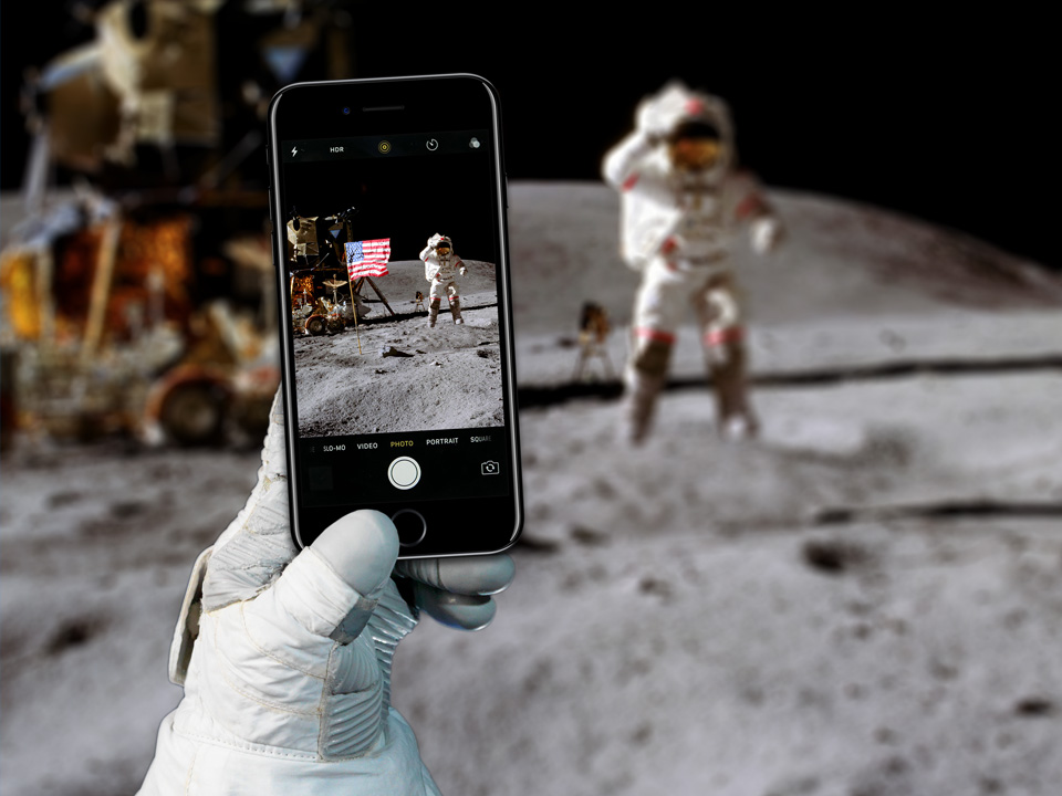 iPhone on the Moon Mockup