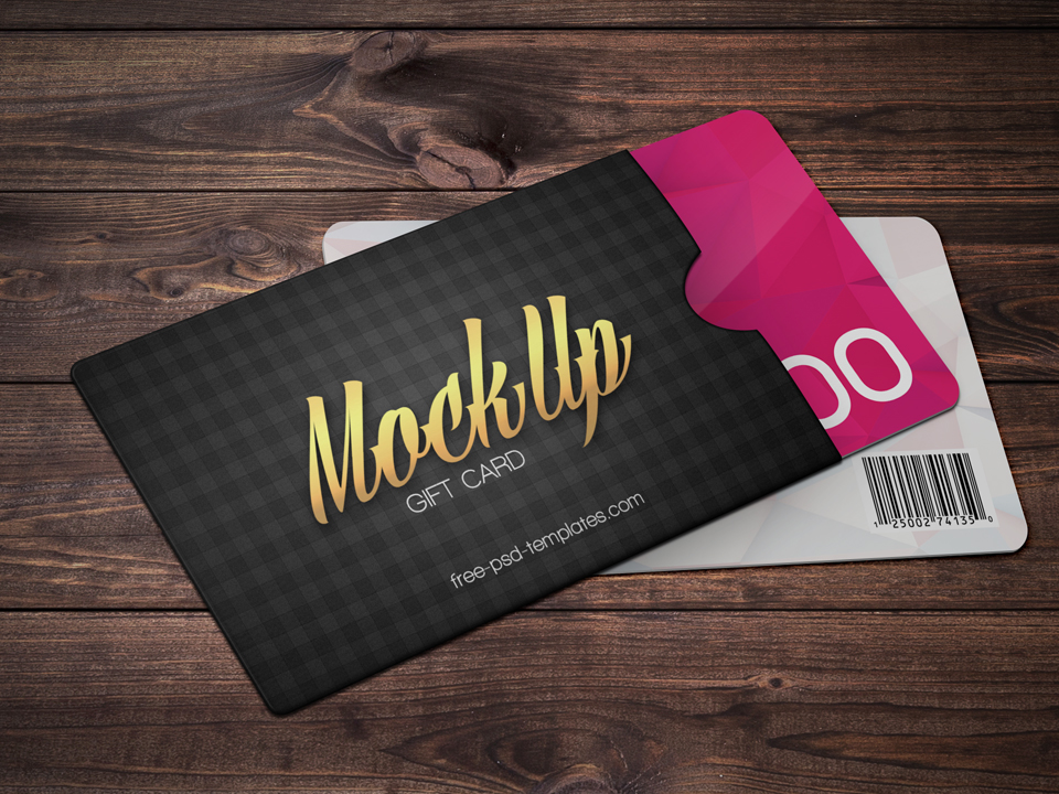 Gift Card with Envelope PSD Mockup