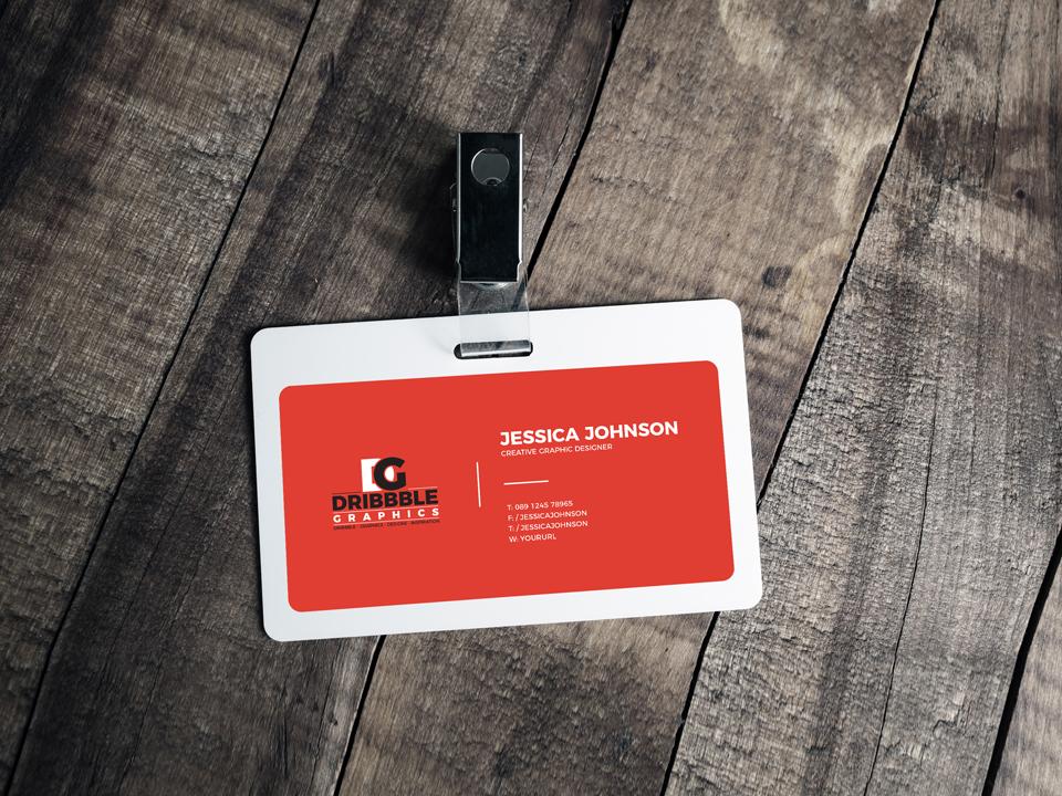 Horizontal Plastic ID Card Mockup