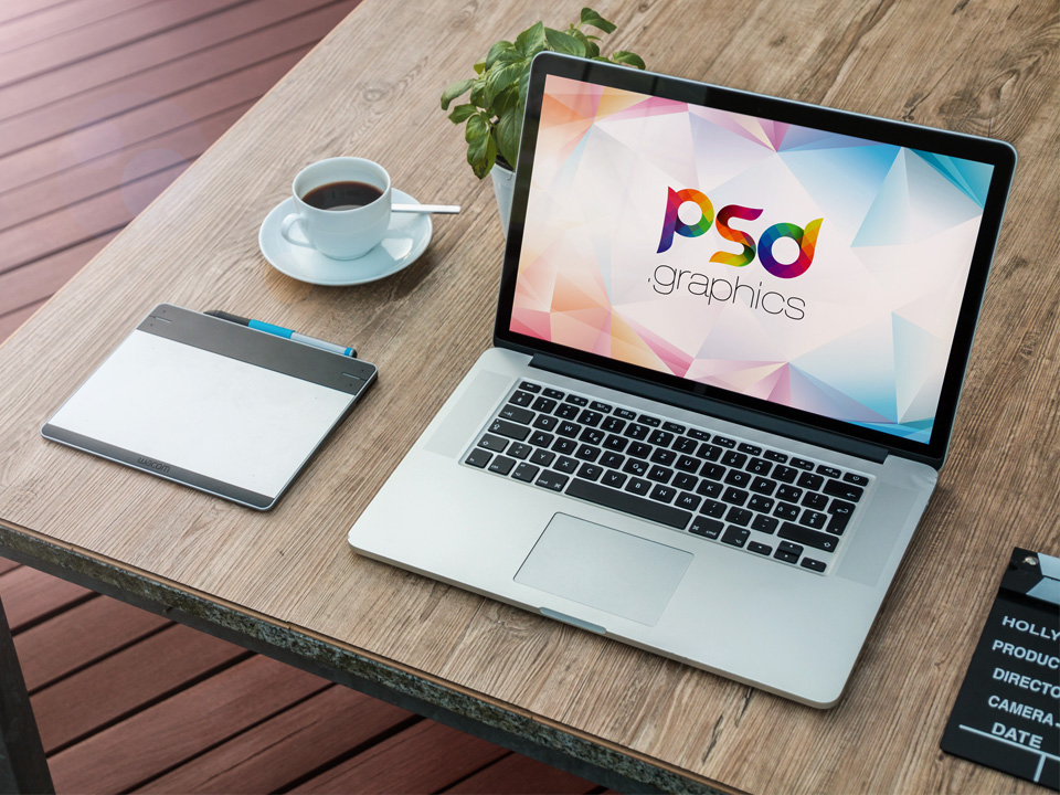 MacBook Workspace PSD Mockup