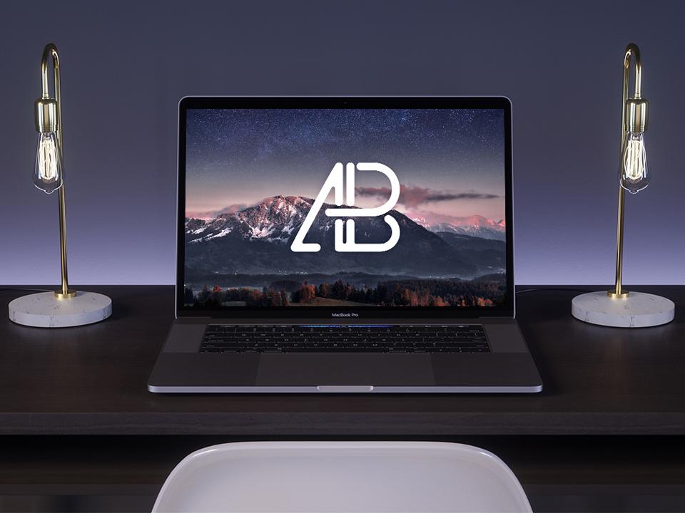 New MacBook Pro on Desk Mockup  mockup, free mockup, psd mockup, mockup psd, free psd, psd, download mockup, mockup download, photoshop mockup, mock-up, free mock-up, mock-up psd, mockup template, free mockup psd, presentation mockup, branding mockup, free psd mockup