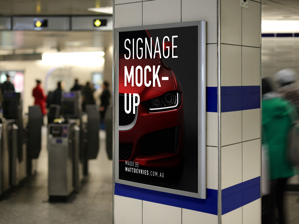 Subway Station Billboard Mockup