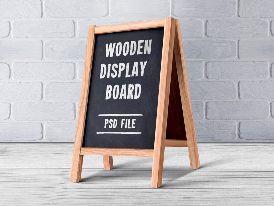 Wooden Chalkboard Menu Display Mockup