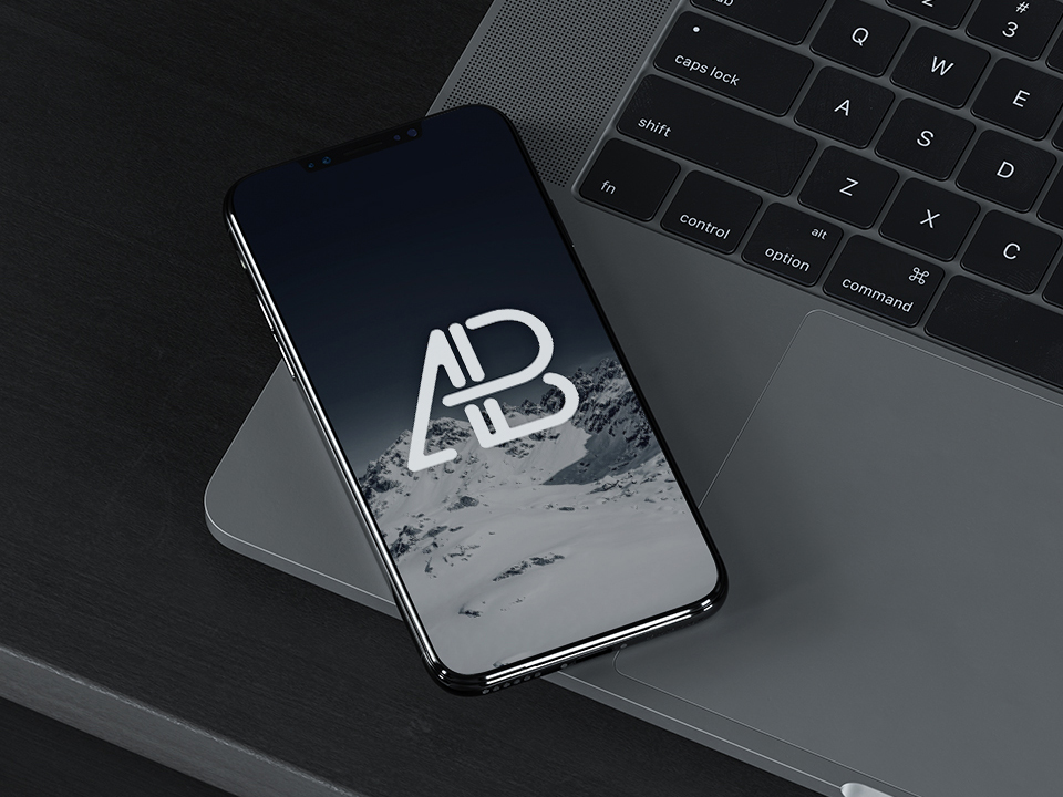iPhone 8 with MacBook Mockup PSD