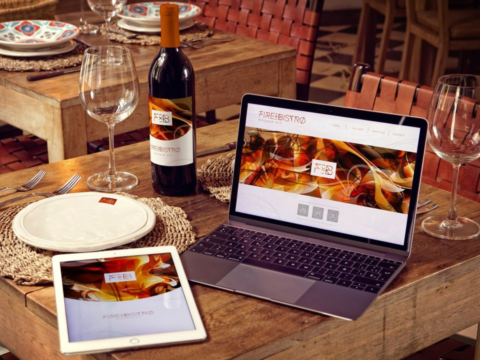 Macbook and iPad with Wine Bottle Mockup